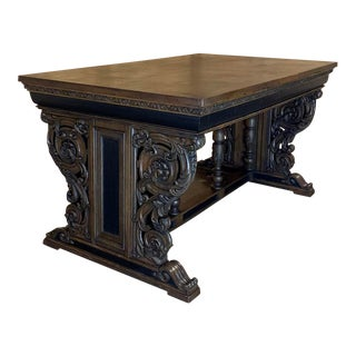 19th Century French Renaissance Partner's Writing Desk For Sale
