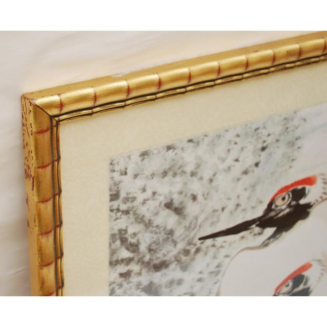 Large Mid-Century Japanese Cranes Watercolor Painting For Sale - Image 4 of 7