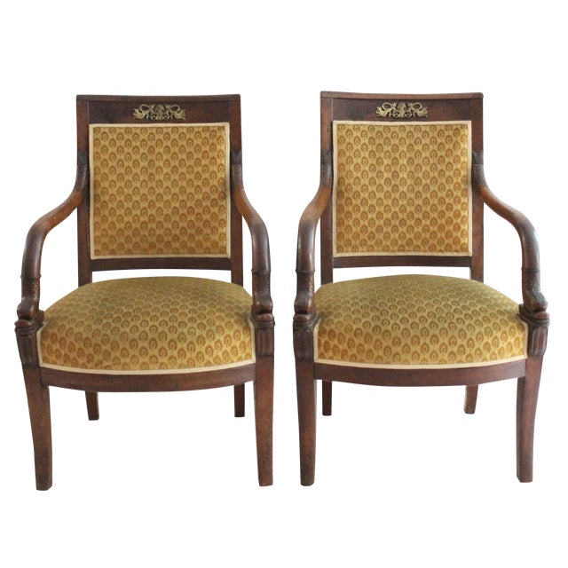 Antique 19th C. Carved Fish Armchairs - A Pair - Image 1 of 6
