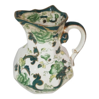 1940s Mason's Ironstone Chartreuse Pitcher For Sale
