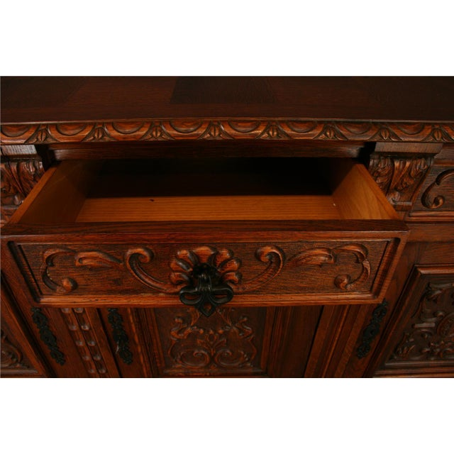 Wood 1950s French Renaissance-Style Oak Sideboard For Sale - Image 7 of 8