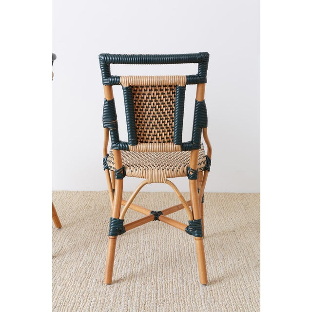 Pair of Palecek Bamboo Rattan Bistro Cafe Chairs For Sale - Image 12 of 13