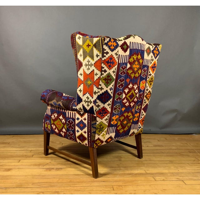 1940s 1940s Danish Wingchair, Semi-Antique Turkish Kilim Cover For Sale - Image 5 of 12