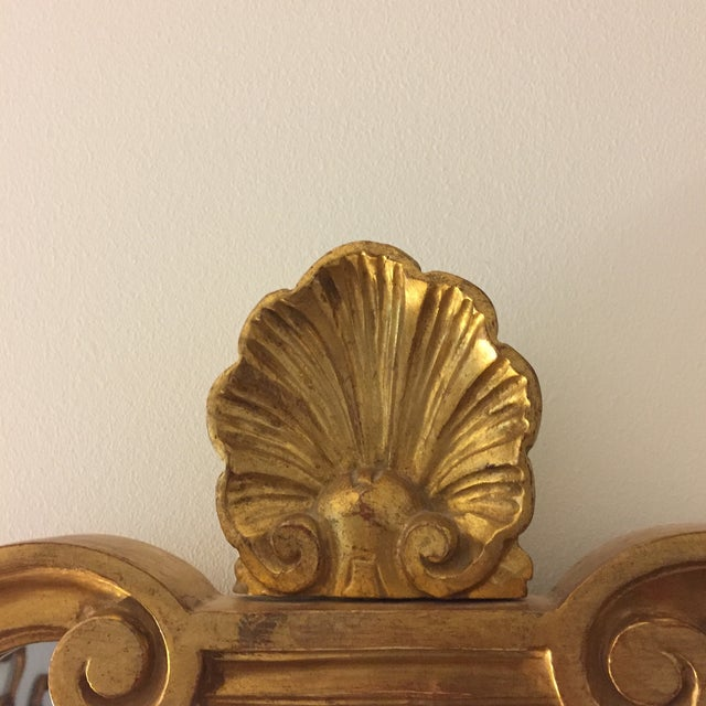 Vintage 1960s Hollywood Regency Mid Century Modern Gilded Mirror W/ Scrolls and Shell Crest, Marked Italy For Sale - Image 4 of 13