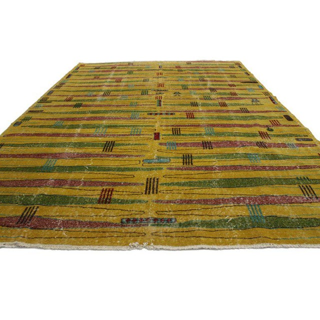 Art Deco Zeki Müren Turkish Contemporary Vintage Rug with Art Deco Style For Sale - Image 3 of 8