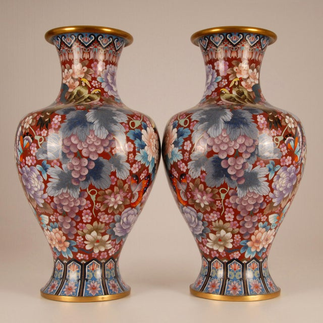 1930s Large Chinese Cloisonne Enamel Gilt Bronze Hand Crafted Baluster Vases - a Pair For Sale - Image 10 of 11