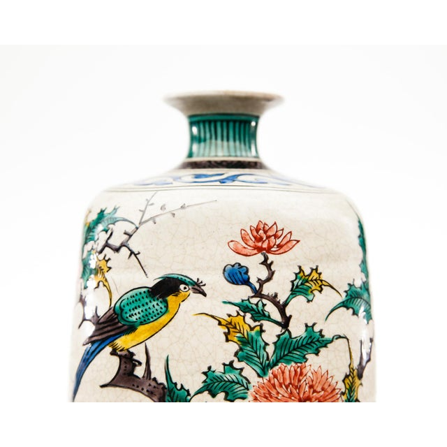 Late 20th Century Late-20th Century Kutani Square Hand-Painted Vase For Sale - Image 5 of 9