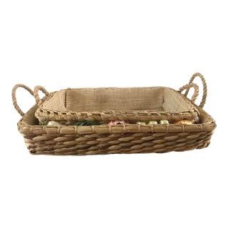 Vintage Straw Handmade Raffia Fruit Nesting Basket For Sale