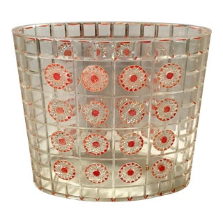 Mid Century Clear Lucite Sate Basket With Pink Flowers For Sale