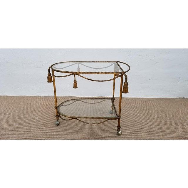 Gold 1960s Hollywood Regency Gilt Metal Bar Cart For Sale - Image 8 of 11