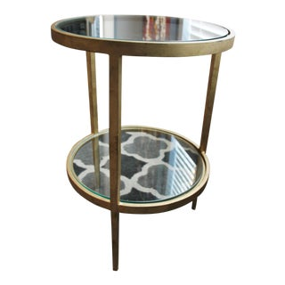 Harden Furniture Glam Gold Tone Accent Table With Two Glass Shelves For Sale