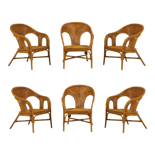 Sculptural Set of Six Vintage Bamboo Dining Chairs For Sale