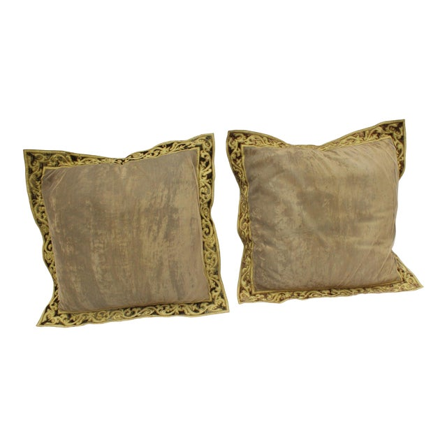 English Country Crushed Velvet Down Pillows - a Pair For Sale