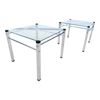 Mid Century Modern Floating Glass & Chrome Side Tables - a Pair For Sale