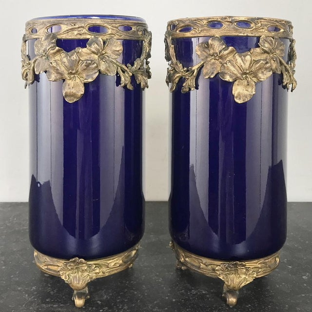 Pair 19th Century Cobalt Porcelain & Bronze Vases For Sale - Image 12 of 12