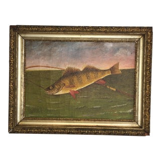 Folk Art Oil on Canvas Painting of a Fish For Sale