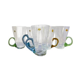Multicolor Handle Crystal Tea Glasses - Set of 5 For Sale