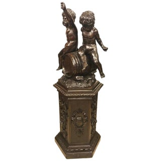 19th Century Black Forest Carving on Pedestal of Two Drunken Cherubs For Sale