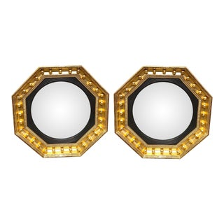 1970s English Regency Style Convex Mirrors - a Pair For Sale