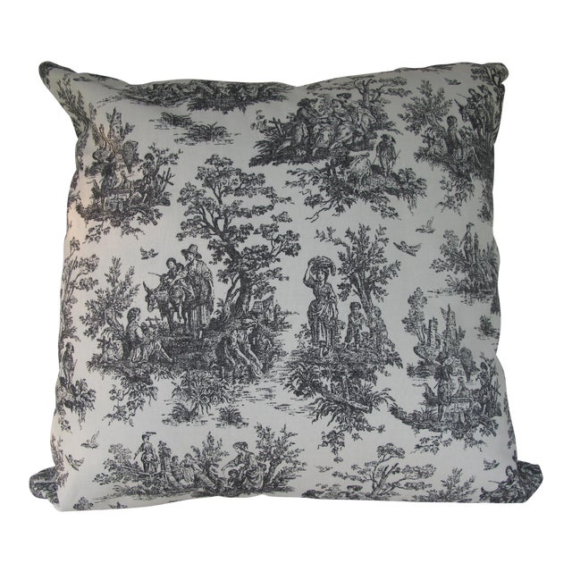 Handmade Classic Black Toile Pillow - 18 X 18 Pillow - Image 1 of 5