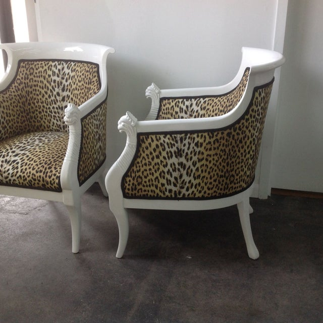 Italian Leopard Print Italian Chairs - A Pair For Sale - Image 3 of 8