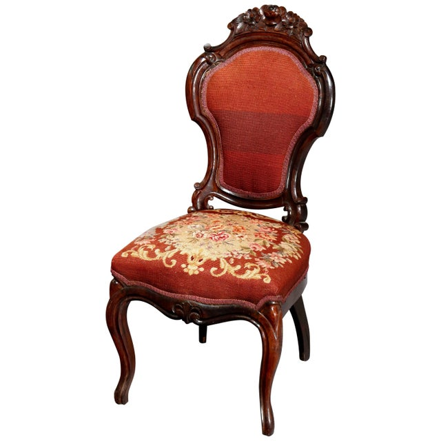 Wood Mid 19th Century Antique Victorian Carved Walnut and Floral Needlepoint Parlor Chair For Sale - Image 7 of 7