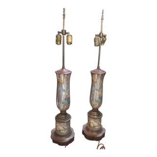 1940's-50's Eglomise Lamps For Sale