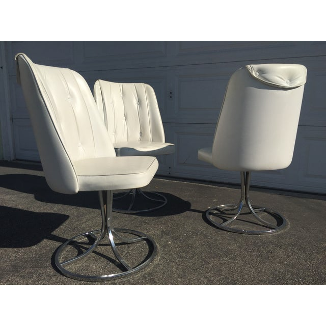 Vintage White Swivel Chairs - Set of 3 - Image 5 of 10