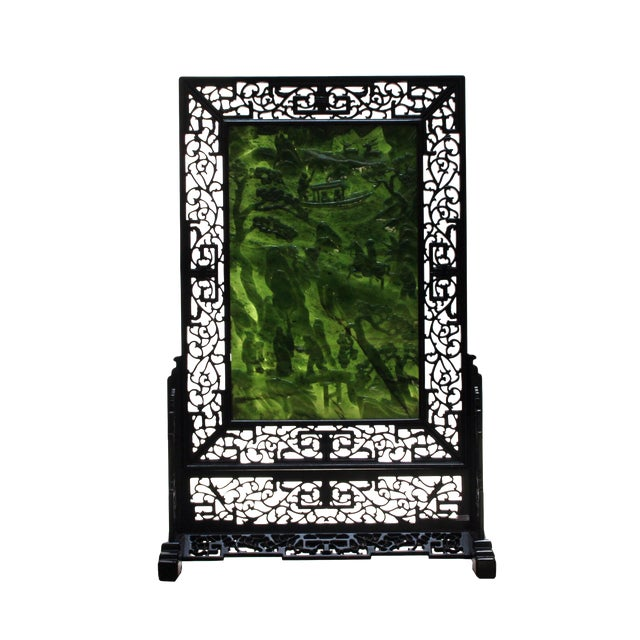 Chinese Vintage Spinach Green Stone Scenery Carving Table Top Wall Panel Displa For Sale