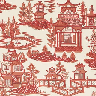 Sample - Schumacher Nanjing Chinoiserie Wallpaper in Coral For Sale