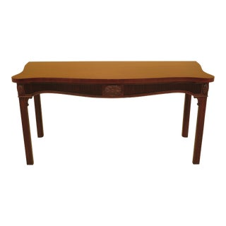 1960s Georgian Kittinger Carved Mahogany Console Table For Sale