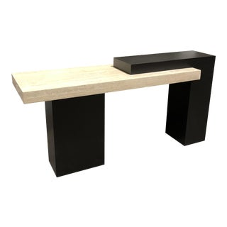 Modern Travertine & Wood Console Table
