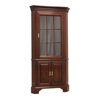 Solid Mahogany Chippendale Style Corner Cupboard Cabinet For Sale