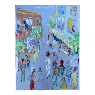 """Happy Menocal """"In the Street"""" Original Gouache and Pastel Work on Paper, Contemporary Illustration"""
