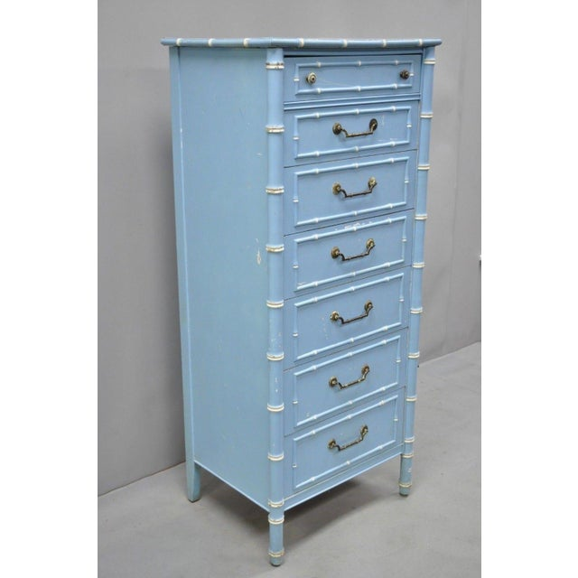 20th Century Chinese Thomasville Allegro Faux Bamboo 7-Drawer Blue Painted Tall Lingerie Chest For Sale - Image 10 of 11