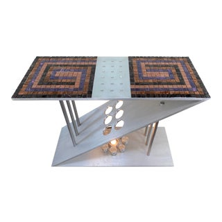 Post Modern Custom Made Aluminum Tiled Mosaic Console Foyer Table For Sale