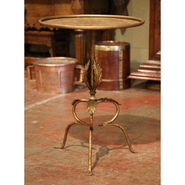 Metal Early 20th Century French Gilt Painted Iron Pedestal Martini Side Table For Sale - Image 7 of 9