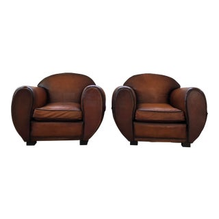 1930s Vintage French Art Deco Leather Club Chairs - A Pair For Sale