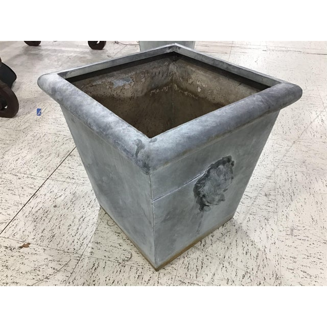 Metal Large Vintage Neoclassic Style Metal Planter For Sale - Image 7 of 8