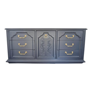 American of Martinsville Dark Blue Chalk Painted Dresser