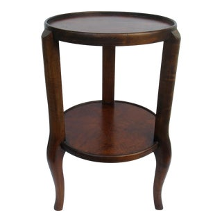 C.1950s Vintage Hollywood Regency Italian Burl Wood 2-Tier Accent, Occasional Table For Sale