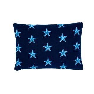 Schumacher Star Epingle Lumbar Pillow in Blue For Sale