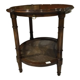 1960's Vintage Elm Patched Veneer Lamp End Table For Sale