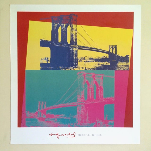 """Blue Andy Warhol Foundation Vintage Pop Art Lithograph Poster """" Brooklyn Bridge """" 1983 For Sale - Image 8 of 9"""