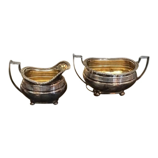 Antique Silver Plated Sugar and Creamer - A Pair For Sale