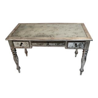 Uttermost Burnished Silver Mirrored Desk Vanity For Sale