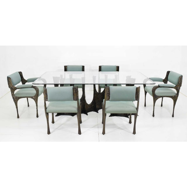 Brutalist Set of Six Paul Evans Brutalist Sculpted Bronze and Resin Dining Chairs, 1972 - See Updated Listing W. New Upholstery For Sale - Image 3 of 11