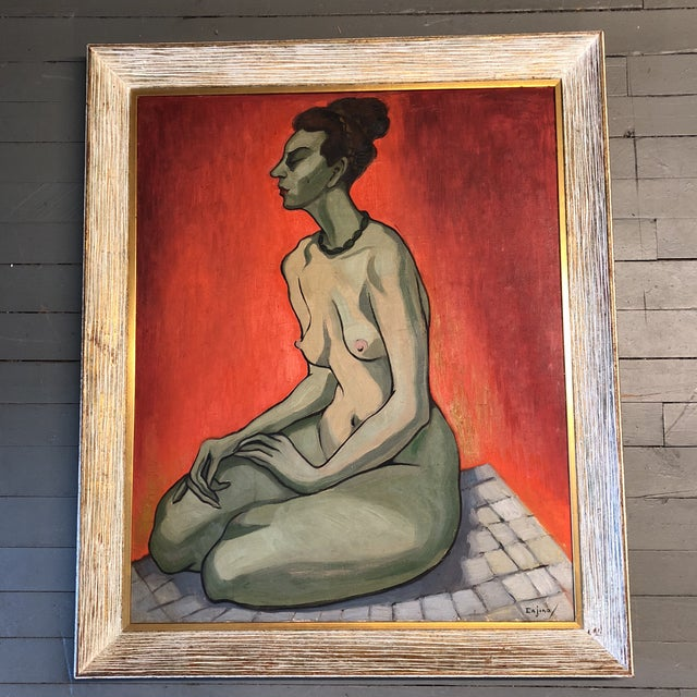 Large Original Vintage Alicia Cajiao Female Nude Painting For Sale In Philadelphia - Image 6 of 6
