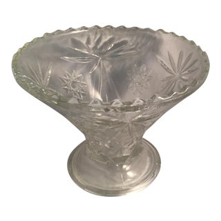 1970s Anchor Hocking Precut Clear Glass Punch Bowl Base For Sale