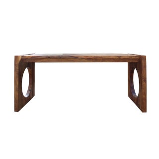 Raw Wood Plank Rectangular Contemporary Wood Base Desk Table For Sale